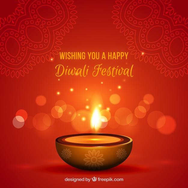 Fundo de vela de diwali avermelhado Vetor grátis