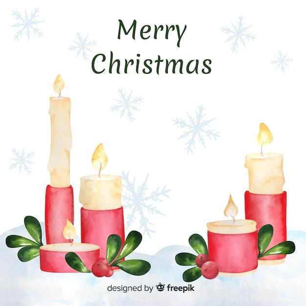 Fundo de vela de natal em aquarela Vetor grátis