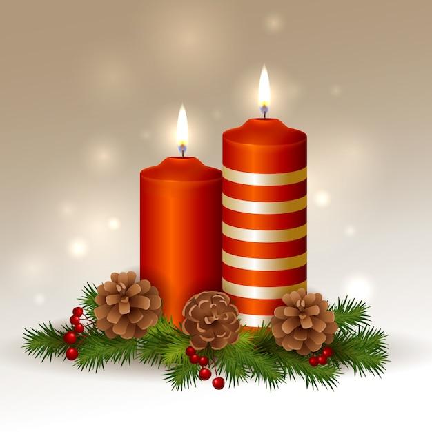 Fundo de vela de natal realista Vetor grátis
