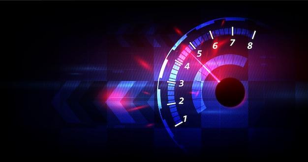 Fundo de velocidade de corrida, velocímetro Vetor Premium