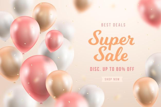 Fundo de venda com balões Vetor grátis