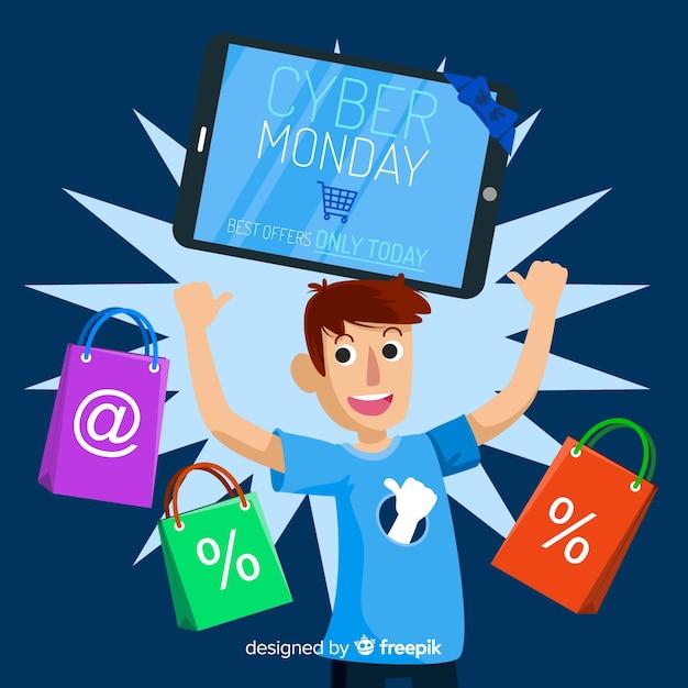 Fundo de venda cyber segunda-feira com cara compras em design plano Vetor grátis