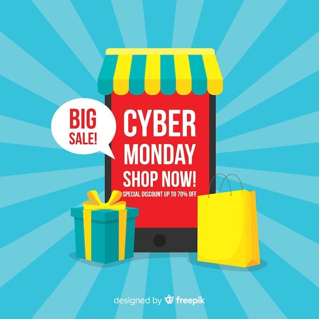 Fundo de venda cyber segunda-feira com dispositivos eletrônicos Vetor grátis