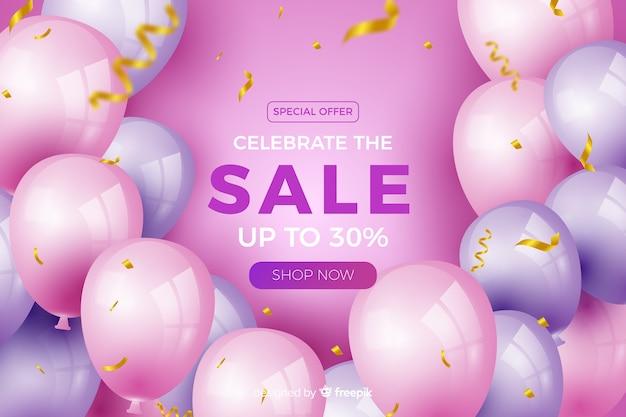 Fundo de venda de balões realistas com texto Vetor grátis