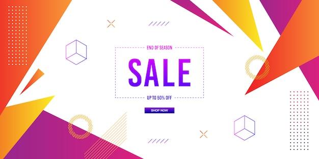Fundo de venda de bandeira de memphis Vetor Premium