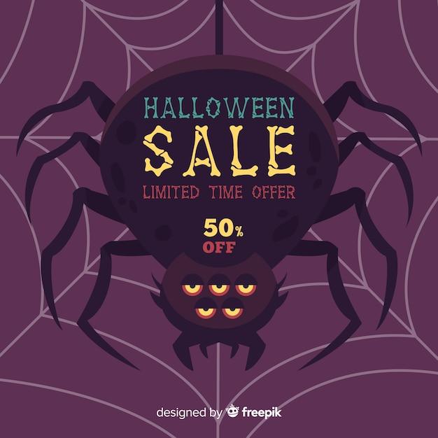 Fundo de venda de halloween com aranha Vetor grátis