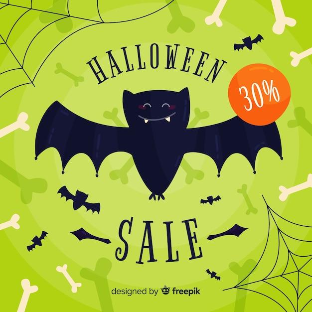 Fundo de venda de halloween design plano Vetor grátis
