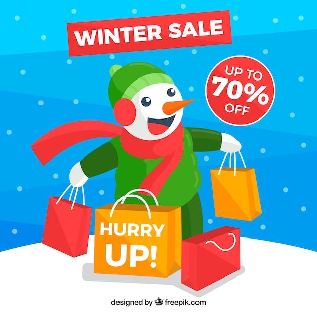 Fundo de venda de inverno com boneco de neve feliz Vetor grátis