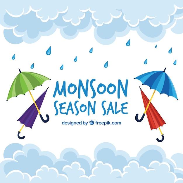 Fundo de venda de monção com guarda-chuvas Vetor grátis