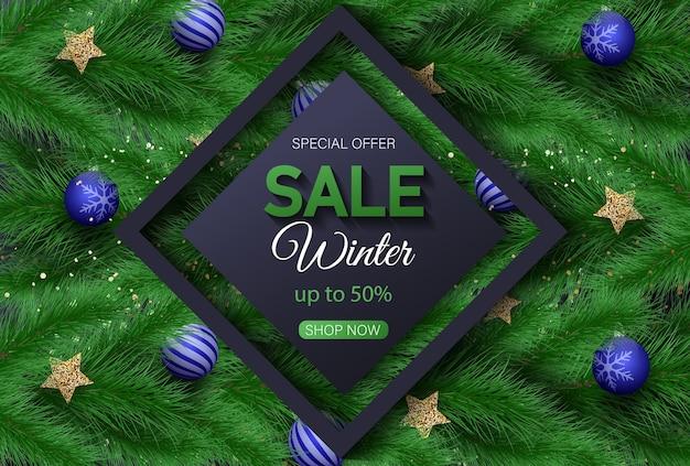 Fundo de venda de natal Vetor Premium