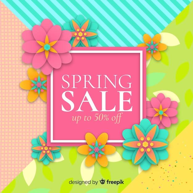 Fundo de venda de primavera colorida Vetor grátis