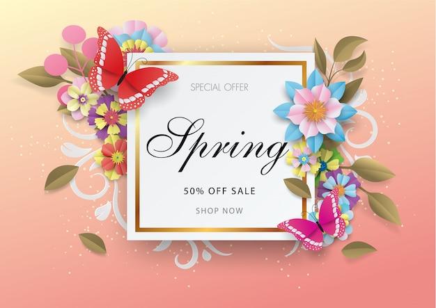 Fundo de venda de primavera com flor colorida e borboleta Vetor Premium