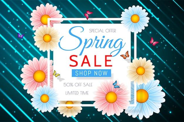 Fundo de venda de primavera com linda flor colorida. modelo de design floral para cupom, banner, voucher ou cartaz promocional. Vetor Premium