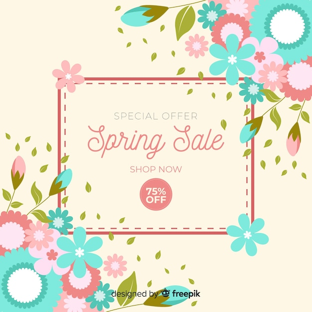 Fundo de venda de primavera plana Vetor grátis