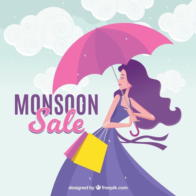 Fundo de venda de temporada de monção com menina e guarda-chuva Vetor grátis