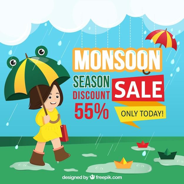 Fundo de venda de temporada de monções Vetor grátis