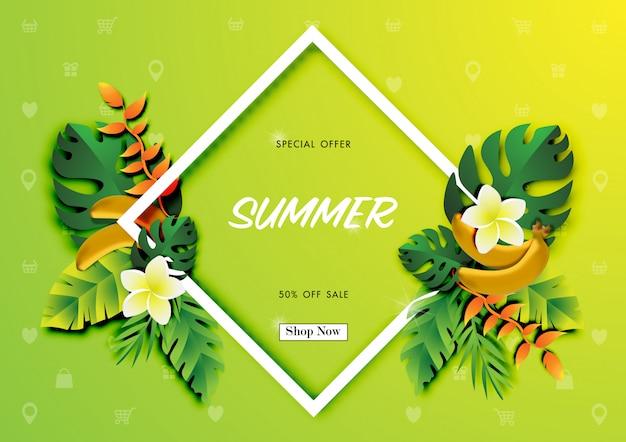 Fundo de venda de verão com arte de papel de design tropical Vetor Premium