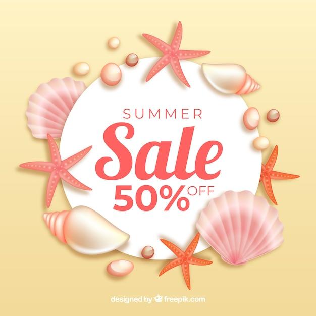 Fundo de venda de verão com conchas Vetor grátis