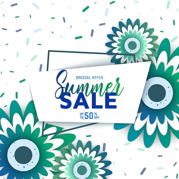 Fundo de venda de verão com flores. Vetor Premium