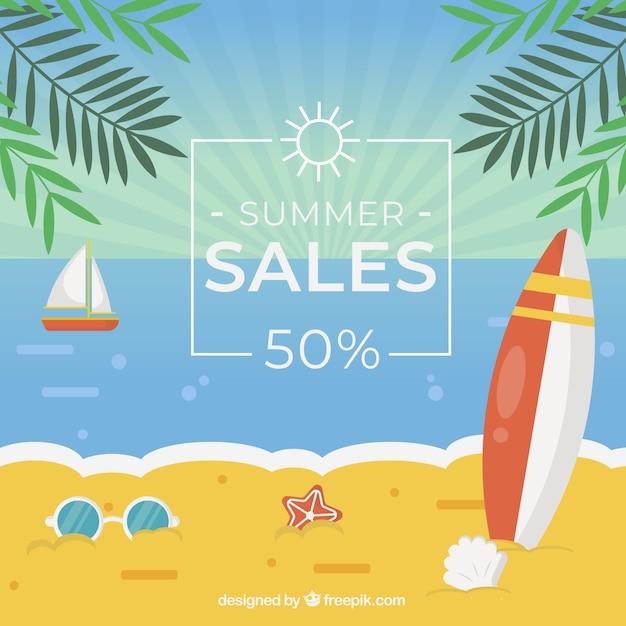 Fundo de venda de verão com praia em estilo simples Vetor grátis