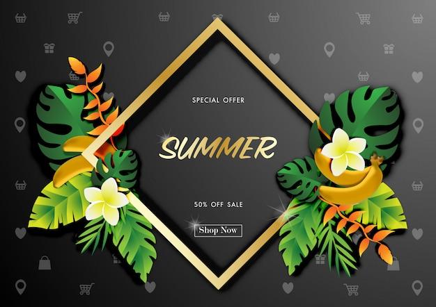 Fundo de venda de verão com vector design tropical Vetor Premium