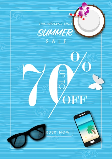 Fundo de venda de verão com vetor de acessórios de verão Vetor Premium