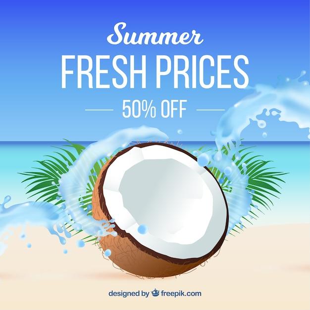 Fundo de venda de verão em estilo realista Vetor grátis
