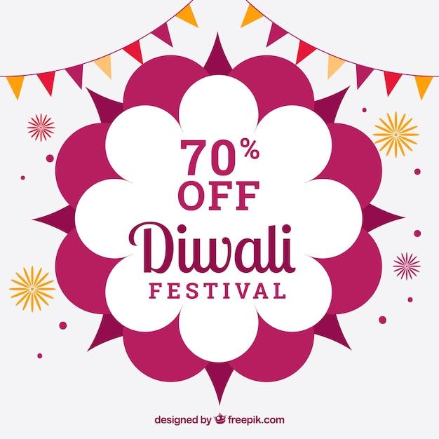 Fundo de venda Diwali com elementos de celebração Vetor grátis
