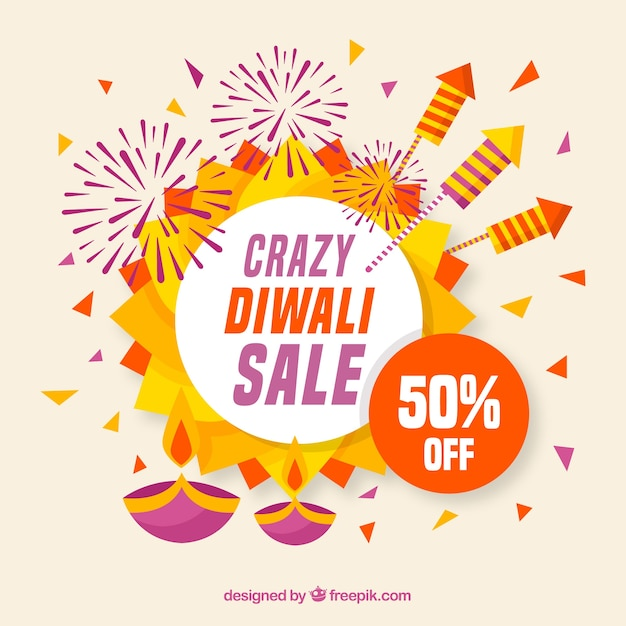 Fundo de venda Diwali em design plano Vetor grátis