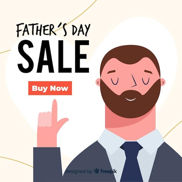 Fundo de venda do dia do pai de mão desenhada Vetor grátis