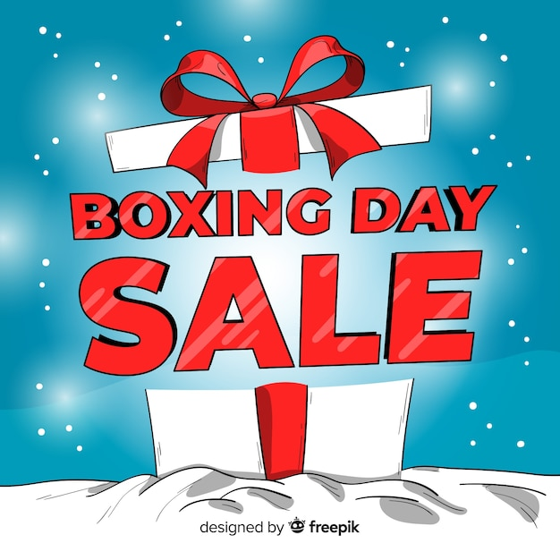Fundo de venda grande caixa de dia de boxe Vetor grátis