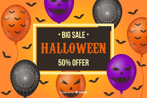 Fundo de venda plana de halloween com balões Vetor grátis