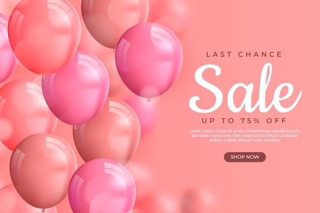 Fundo de venda realista com balões Vetor Premium