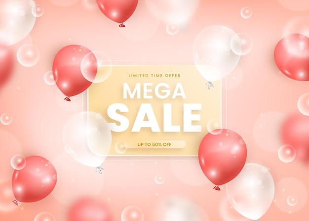 Fundo de venda realista com balões Vetor grátis