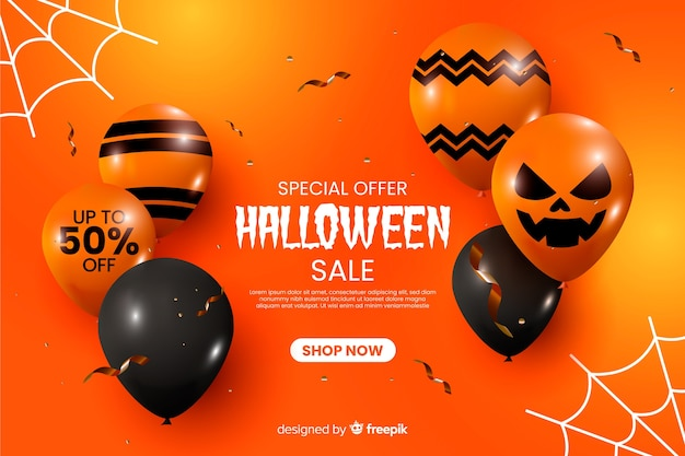 Fundo de venda realista de halloween com balões Vetor grátis