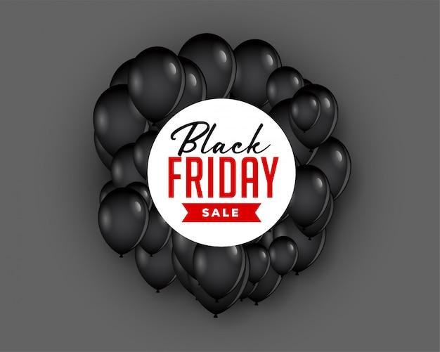 Fundo de venda sexta-feira negra com balão voador Vetor grátis