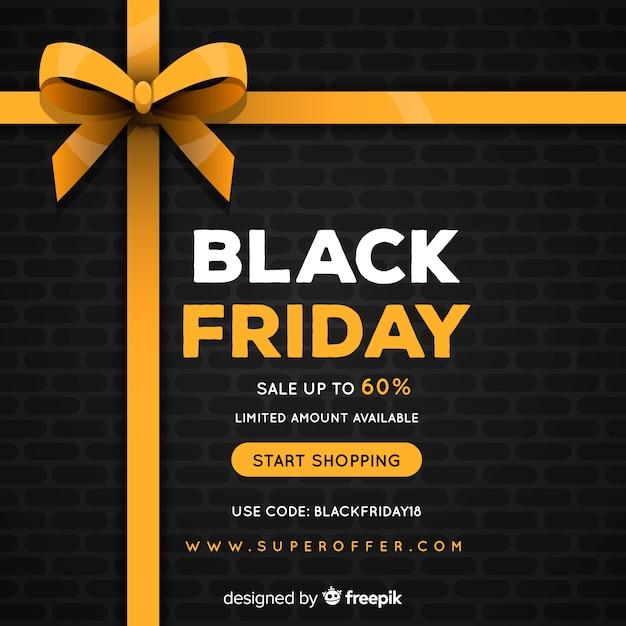 Fundo de venda sexta-feira negra com fita dourada Vetor grátis