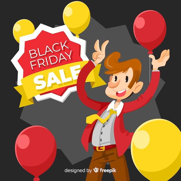 Fundo de venda sexta-feira negra com personagem fofo em design plano Vetor grátis