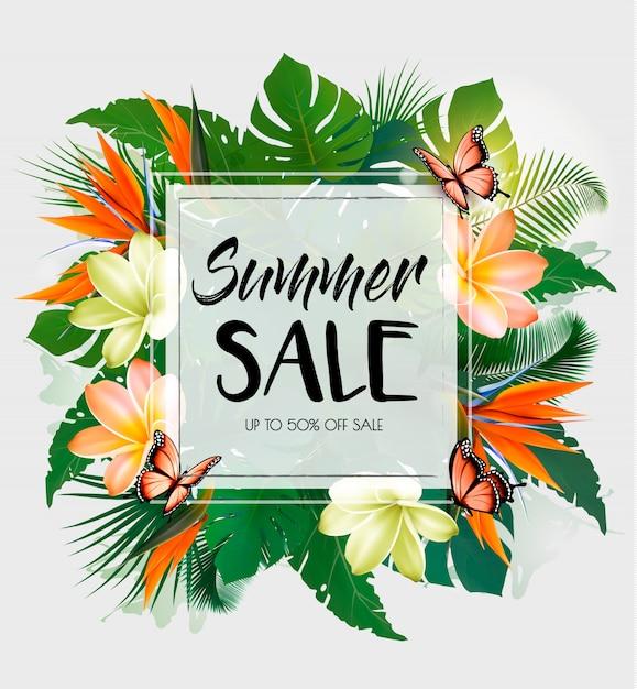 Fundo de venda verão tropical com folhas exóticas e flores coloful. Vetor Premium