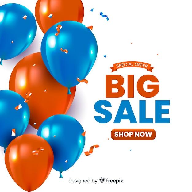 Fundo de vendas com balões realistas Vetor grátis
