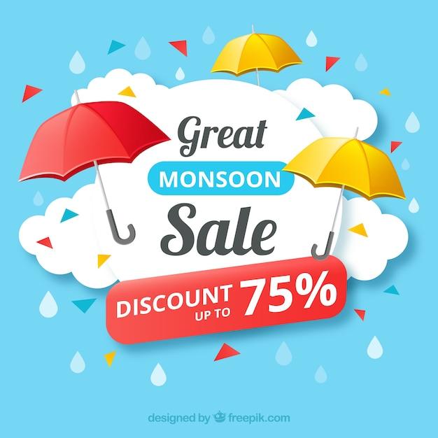 Fundo de vendas com guarda-chuva de signo Vetor grátis