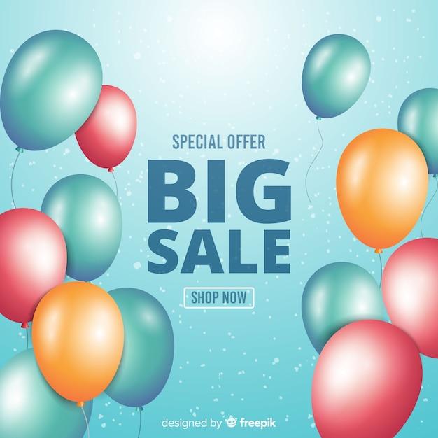 Fundo de vendas de balões decorativos realistas Vetor grátis
