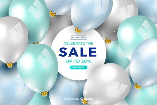 Fundo de vendas de balões realistas Vetor grátis