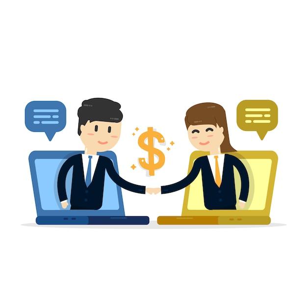 Fundo de vendas de empresa para empresa Vetor Premium