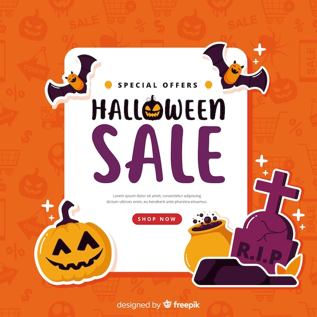 Fundo de vendas de halloween em estilo simples Vetor grátis