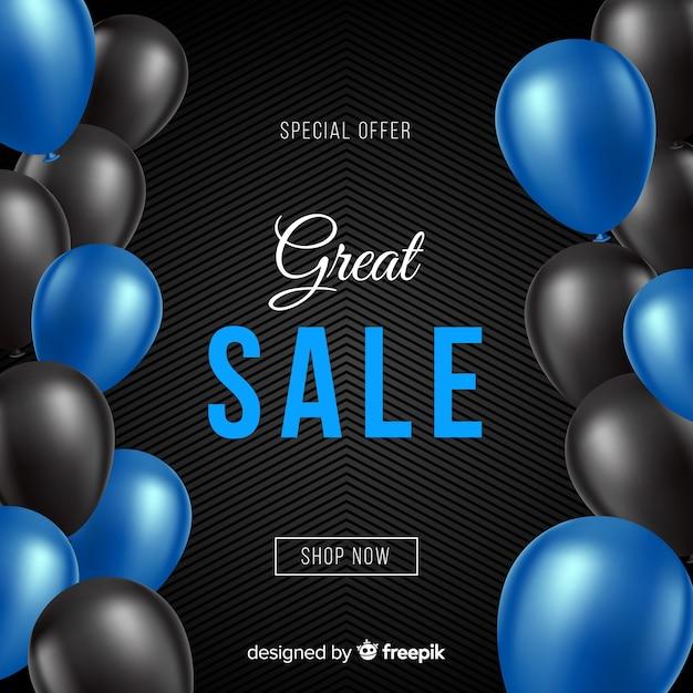 Fundo de vendas decorativo de balões realista Vetor grátis