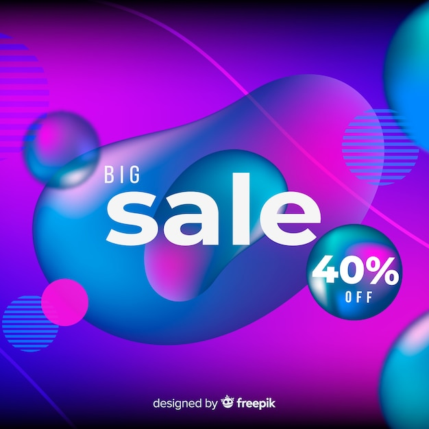 Fundo de vendas gradiente colorido com efeito fluido Vetor grátis