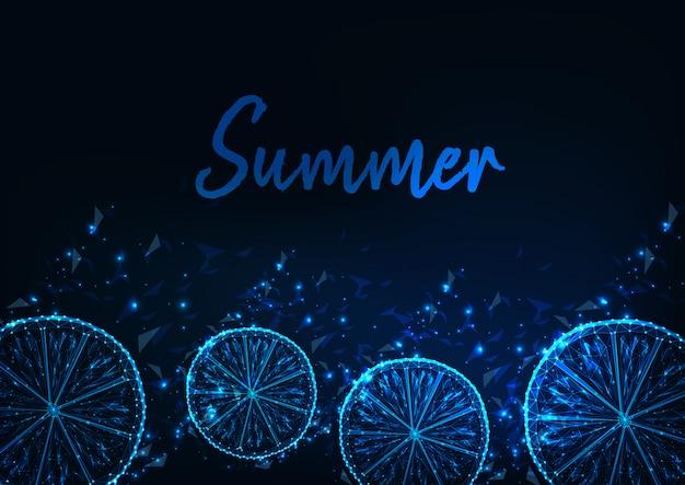 Fundo de verão com brilhantes fatias de baixo polylemon Vetor Premium