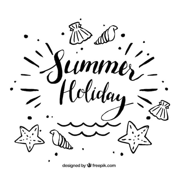 Fundo de verão com elementos de praia Vetor Premium