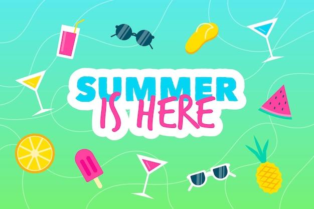 Fundo de verão com óculos de sol Vetor grátis